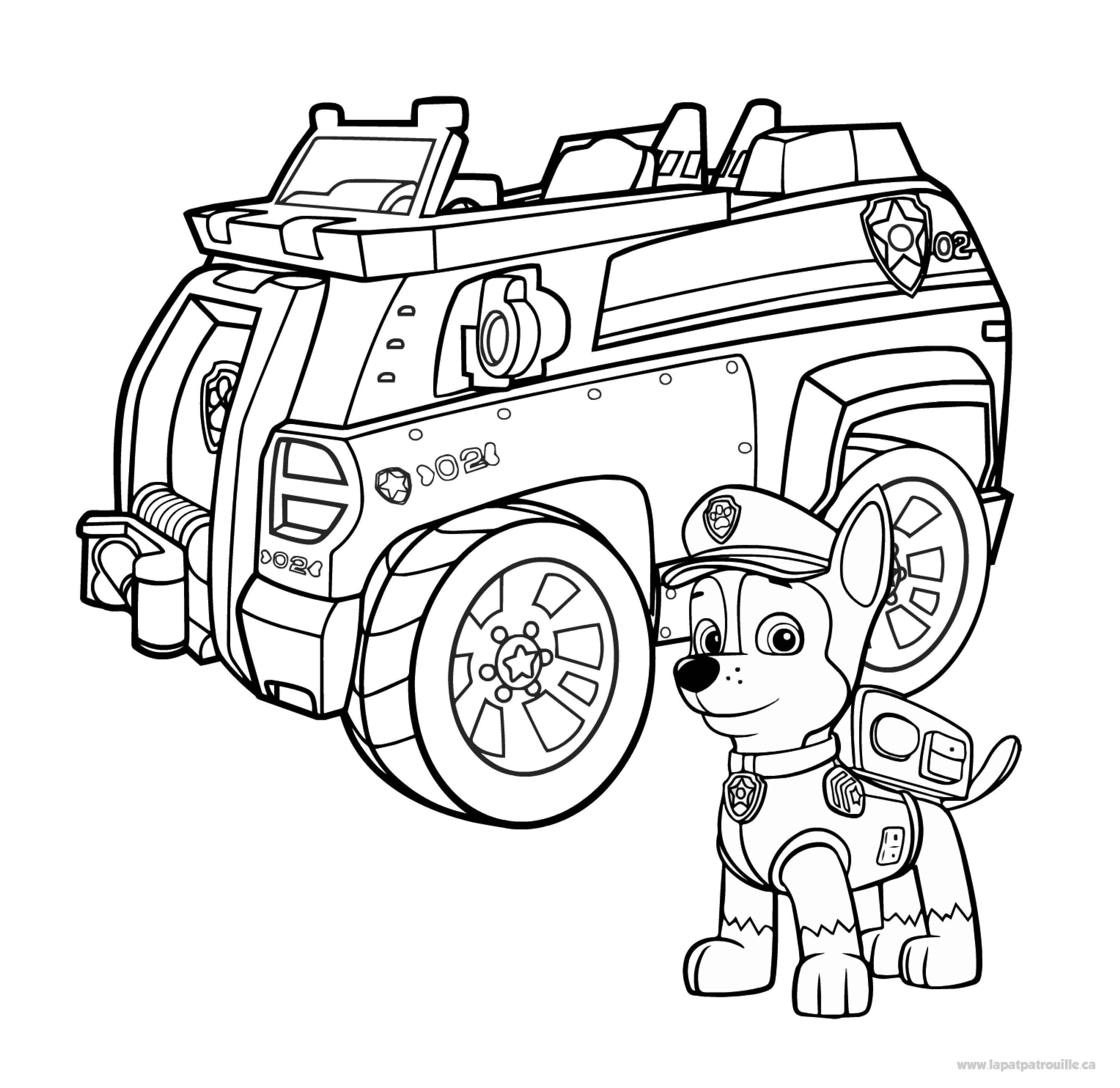 Coloriage De Chase Et Son Camion De Police La Pat Patrouille