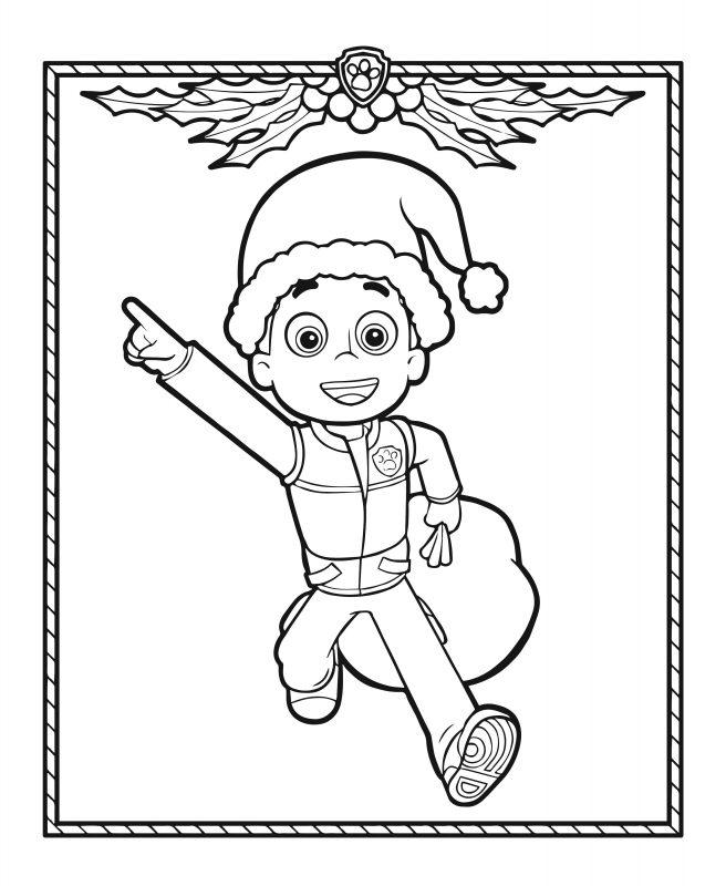 Coloriage De Ryder Remplace Le Père Noël La Pat Patrouille